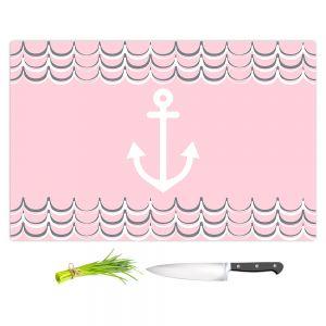 Artistic Kitchen Bar Cutting Boards | Organic Saturation - Anchor Waves Blush Pink | Simple pattern nautical