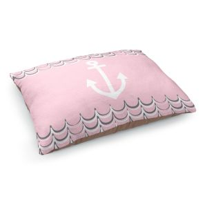 Decorative Dog Pet Beds | Organic Saturation - Anchor Waves Blush Pink | Simple pattern nautical