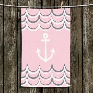 Unique Hanging Tea Towels | Organic Saturation - Anchor Waves Blush Pink | Simple pattern nautical