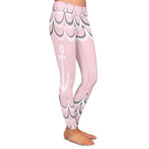 Casual Comfortable Leggings | Organic Saturation - Anchor Waves Blush Pink | Simple pattern nautical