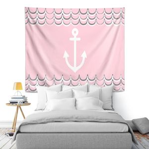 Artistic Wall Tapestry   Organic Saturation - Anchor Waves Blush Pink   Simple pattern nautical