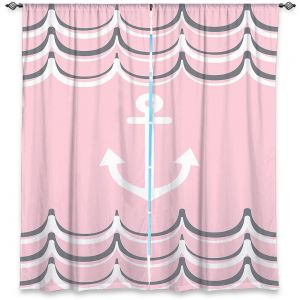 Decorative Window Treatments | Organic Saturation - Anchor Waves Blush Pink | Simple pattern nautical