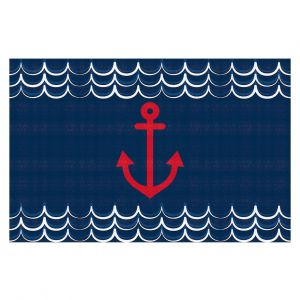 Decorative Floor Covering Mats | Organic Saturation - Anchor Waves Classic | Simple pattern nautical