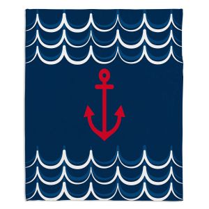Decorative Fleece Throw Blankets | Organic Saturation - Anchor Waves Classic | Simple pattern nautical
