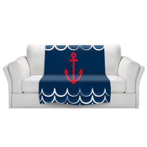 Artistic Sherpa Pile Blankets | Organic Saturation - Anchor Waves Classic | Simple pattern nautical