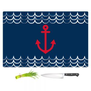 Artistic Kitchen Bar Cutting Boards | Organic Saturation - Anchor Waves Classic | Simple pattern nautical