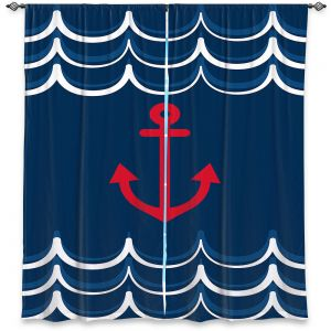 Decorative Window Treatments | Organic Saturation - Anchor Waves Classic | Simple pattern nautical
