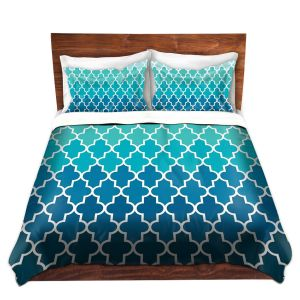 Artistic Duvet Covers and Shams Bedding | Organic Saturation - Aqua Ombre Quatrefoil