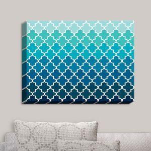 Decorative Canvas Wall Art | Organic Saturation - Aqua Ombre Quatrefoil