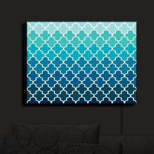 Nightlight Sconce Canvas Light | Organic Saturation - Aqua Ombre Quatrefoil