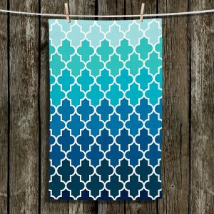 Unique Bathroom Towels | Organic Saturation - Aqua Ombre Quatrefoil