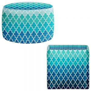 Round and Square Ottoman Foot Stools | Organic Saturation - Aqua Ombre Quatrefoil