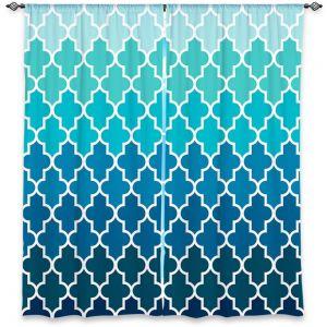 Decorative Window Treatments   Organic Saturation Aqua Ombre Quatrefoil