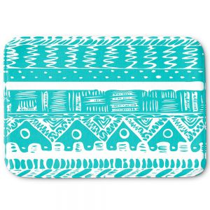 Decorative Bathroom Mats | Organic Saturation - Boho Blue Aztec
