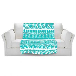 Artistic Sherpa Pile Blankets | Organic Saturation Boho Blue Aztec
