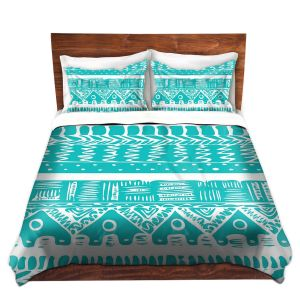 Artistic Duvet Covers and Shams Bedding | Organic Saturation - Boho Blue Aztec
