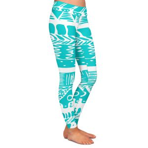 Casual Comfortable Leggings | Organic Saturation Boho Blue Aztec