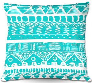 Throw Pillows Decorative Artistic | Organic Saturation's Boho Blue Aztec