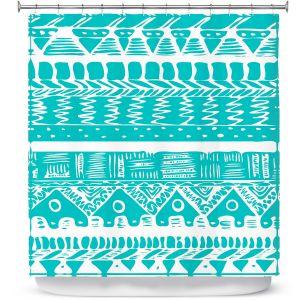 Premium Shower Curtains | Organic Saturation Boho Blue Aztec