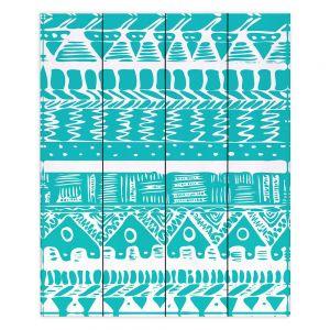 Decorative Wood Plank Wall Art   Organic Saturation Boho Blue Aztec
