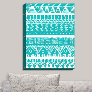 Decorative Canvas Wall Art | Organic Saturation - Boho Blue Aztec