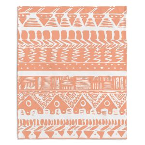 Decorative Fleece Throw Blankets | Organic Saturation - Boho Coral Aztec
