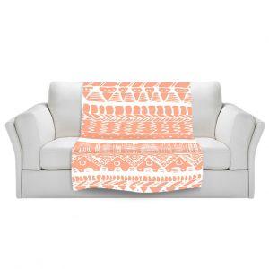 Artistic Sherpa Pile Blankets | Organic Saturation Boho Coral Aztec
