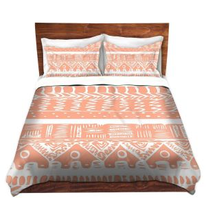 Artistic Duvet Covers and Shams Bedding | Organic Saturation - Boho Coral Aztec