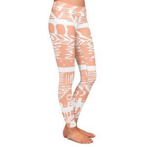 Casual Comfortable Leggings | Organic Saturation Boho Coral Aztec