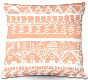 Unique Throw Pillows from DiaNoche Designs by Organic Saturation - Boho Coral Aztec | 16X16