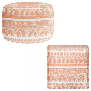 Round and Square Ottoman Foot Stools | Organic Saturation - Boho Coral Aztec
