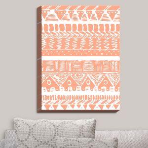 Decorative Canvas Wall Art | Organic Saturation - Boho Coral Aztec