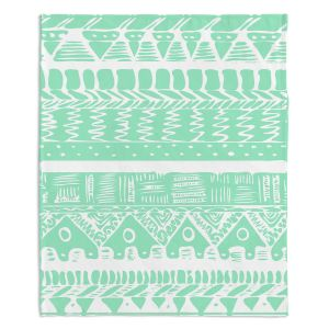 Artistic Sherpa Pile Blankets | Organic Saturation Boho Mint Aztec