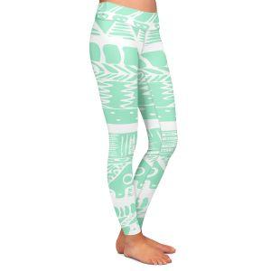 Casual Comfortable Leggings | Organic Saturation Boho Mint Aztec