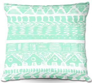 Throw Pillows Decorative Artistic   Organic Saturation's Boho Mint Aztec