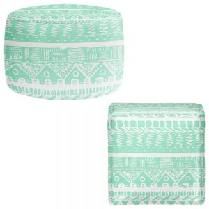 Round and Square Ottoman Foot Stools | Organic Saturation - Boho Mint Aztec