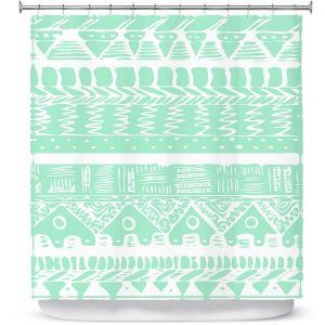 Premium Shower Curtains | Organic Saturation Boho Mint Aztec