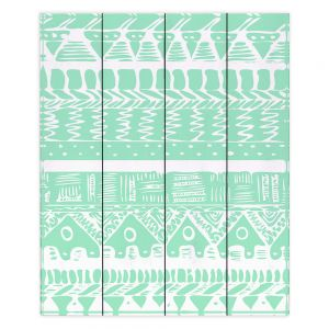 Decorative Wood Plank Wall Art   Organic Saturation Boho Mint Aztec