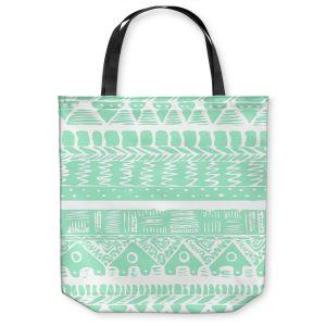 Unique Shoulder Bag Tote Bags | Organic Saturation Boho Mint Aztec