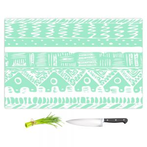 Artistic Kitchen Bar Cutting Boards | Organic Saturation - Boho Mint Aztec