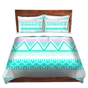 Artistic Duvet Covers and Shams Bedding | Organic Saturation - Bright Turquoise Tribal
