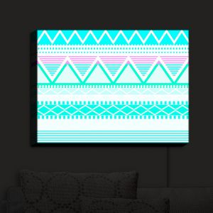 Nightlight Sconce Canvas Light | Organic Saturation - Bright Turquoise Tribal