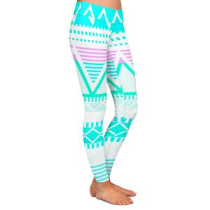 Casual Comfortable Leggings | Organic Saturation Bright Turquoise Tribal