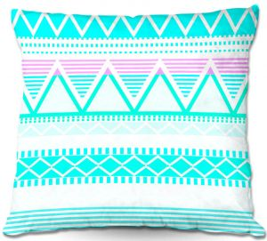 Throw Pillows Decorative Artistic | Organic Saturation's Bright Turquoise Tribal