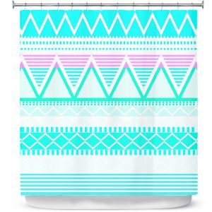 Premium Shower Curtains | Organic Saturation Bright Turquoise Tribal