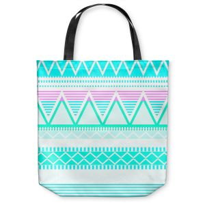 Unique Shoulder Bag Tote Bags | Organic Saturation Bright Turquoise Tribal