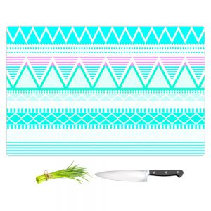 Artistic Kitchen Bar Cutting Boards | Organic Saturation - Bright Turquoise Tribal