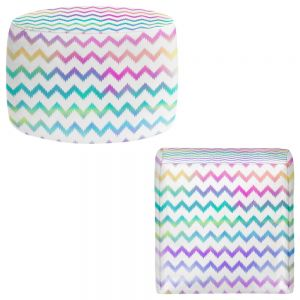 Round and Square Ottoman Foot Stools | Organic Saturation - Bubble Ikat Chevron