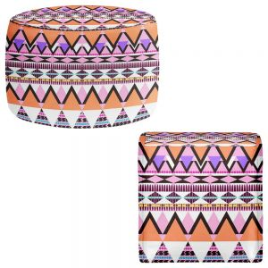 Round and Square Ottoman Foot Stools | Organic Saturation - Colorful Dream Nativo