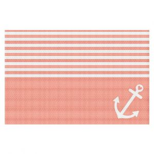 Decorative Area Rug 2 x 3 ft from DiaNoche Designs by Organic Saturation - Coral Love Anchor Nautical